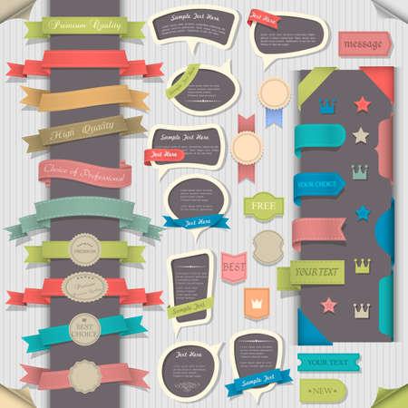 スクラップブッキング: 大きなレトロなデザイン要素と吹き出しを設定します。コレクション