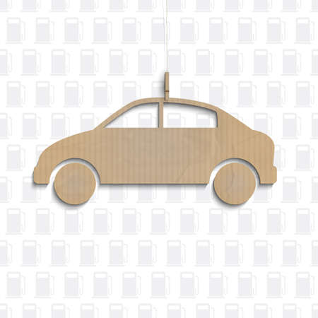 gallon: Car cut out of cardboard.  concept Illustration