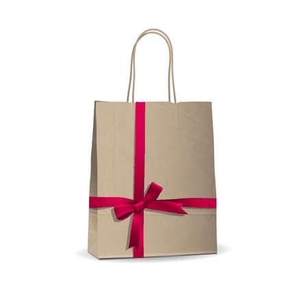 bolsa de regalo: Compras vac�o marr�n atados con cinta bolsa de color rosa. ilustraci�n