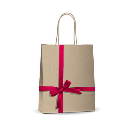 gift bags: Empty shopping brown bag with  tied pink ribbon.  illustration