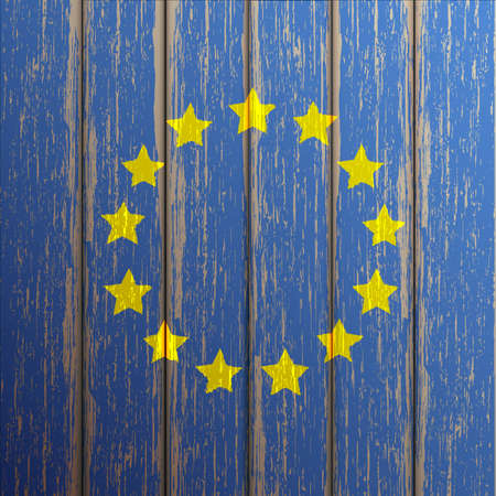 Euro flag painted on old wooden background. Vector