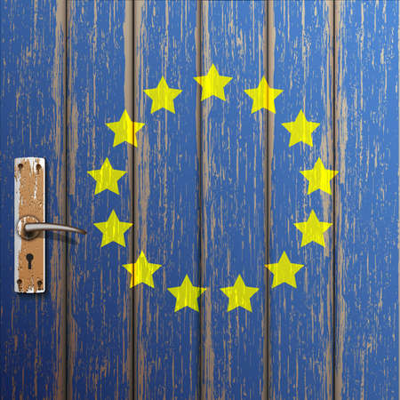 cooperate: Euro flag painted on old wooden door.