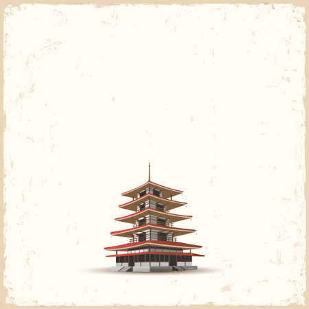 Japanese pagoda on grunge background.  Stock Vector - 18957237