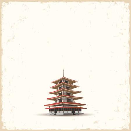 Japanese pagoda on grunge background. Stock Vector - 18957237