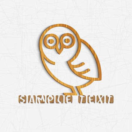 Owl carved from textured wood   Ilustração