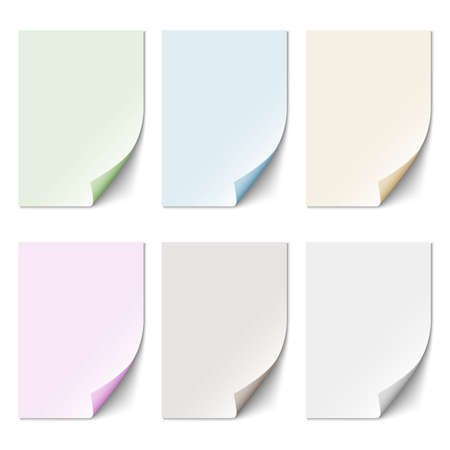 paper curl: Set of empty paper sheet in pastel colors