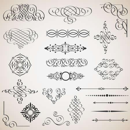 set of calligraphic design elements Stock Vector - 18957183