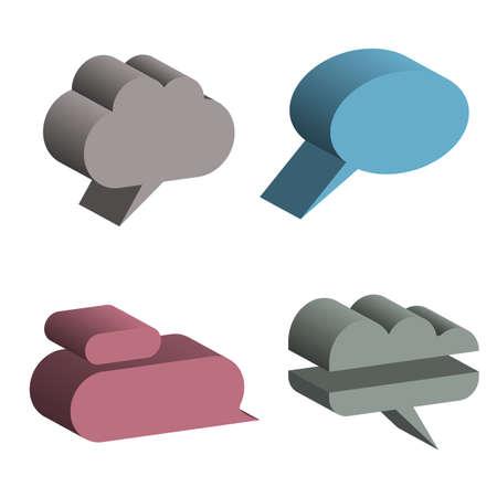 3D Speech Bubbles. Vector
