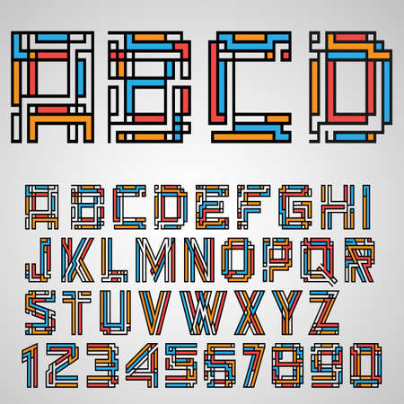 contemporary style: Alphabet letters and numbers in Mayan style.