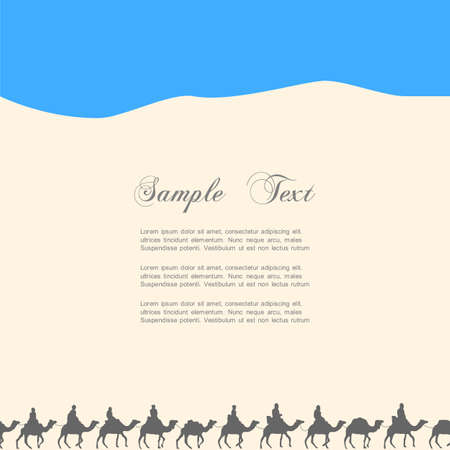 Background with silhouettes of camels. Vector