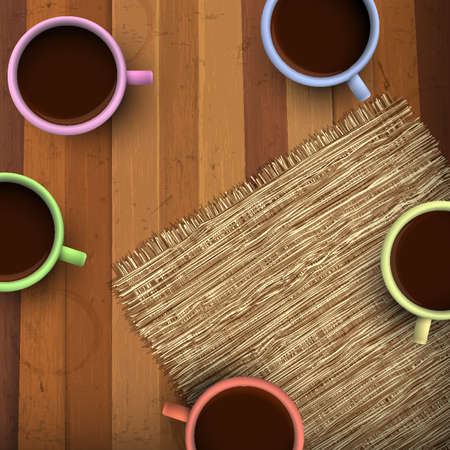 Colored cup of coffee on wooden background.  Vector