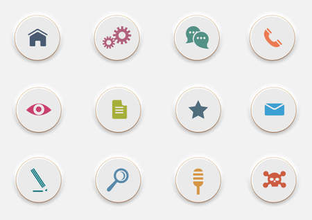 Computer Icons on round white buttons.  Vector