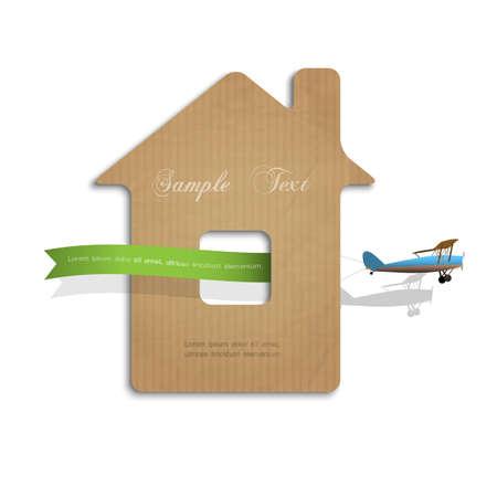 carton: Casa cortado de cart�n con avi�n. Ilustraci�n del concepto