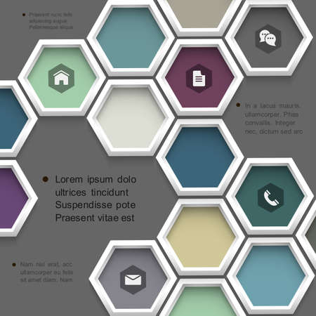New design hexagons background for website . Stock Vector - 19578910