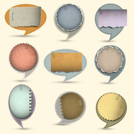 Old paper bubbles for speech.  Vector
