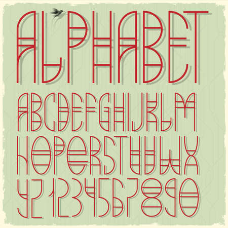 Slim red alphabet letters and numbers. Stock Vector - 19578852