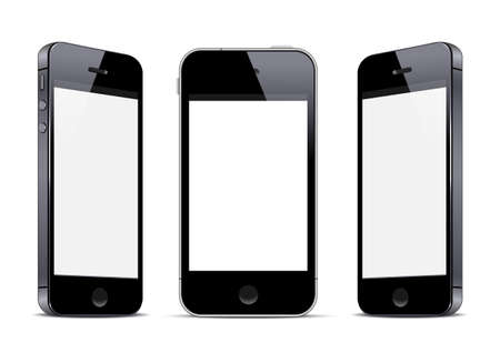 Three black smartphones.