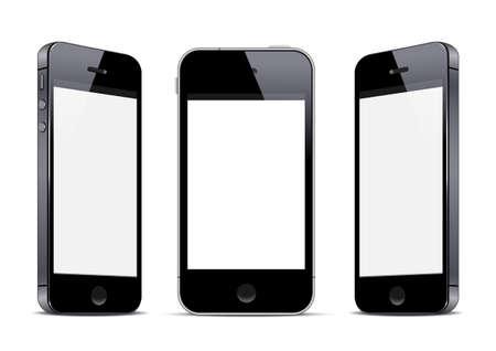 Three black smartphones.  Stock Vector - 19578835