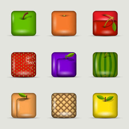 set of app icons-fruits Vector