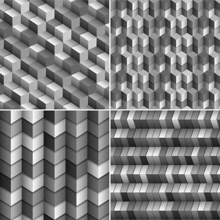 set of monochrome  blocks backgrounds  矢量图像