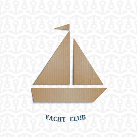 Yacht cut out of cardboard.  Vector