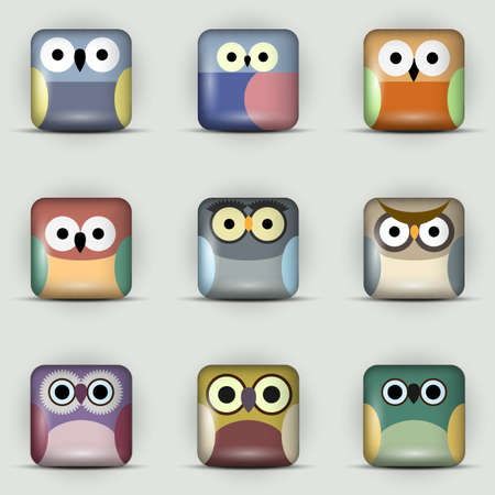 App icons  set of owls Stock Vector - 19869868