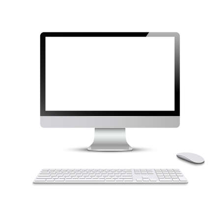 Monitor with keyboard and computer mouse. Vector