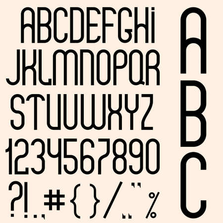 Slim black font, numbers and punctuation marks  Vector