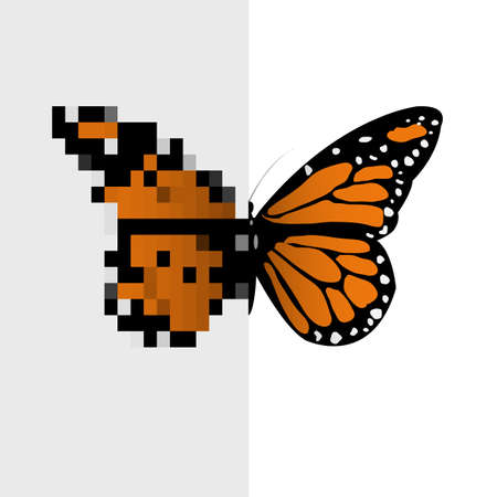 pixel art: Vector Pixel Art Butterfly Illustration