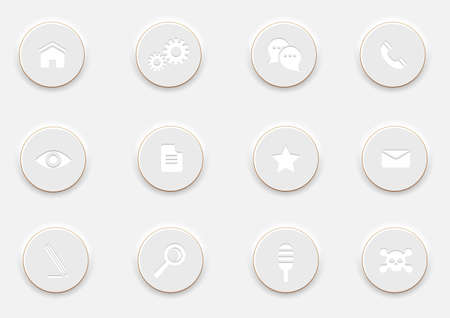 White computer Icons on round buttons  Stock Vector - 19869858