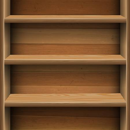shelf with books: Wooden shelves background