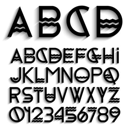 concepts alphabet: Alphabet letters with shadow and numbers. Vector set Illustration