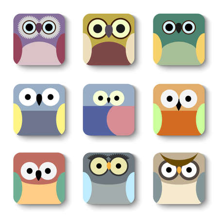 App icons vector set of cute owls  Illustration