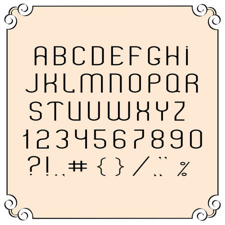 number border: Black  simple font, numbers and punctuation marks. Vector set Illustration