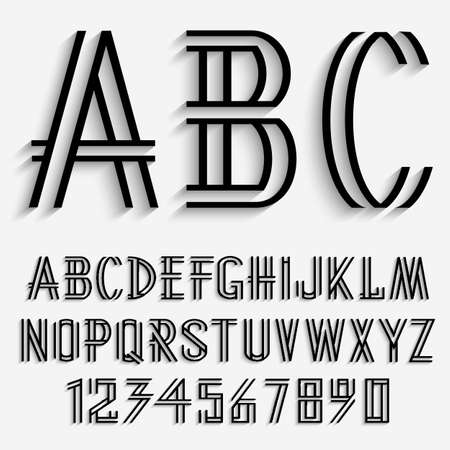 abstract letters: Black alphabet letters and numbers with shadow. Vector set Illustration