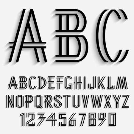 carta: Letras del alfabeto y los números negros con la sombra. Conjunto de vectores Vectores