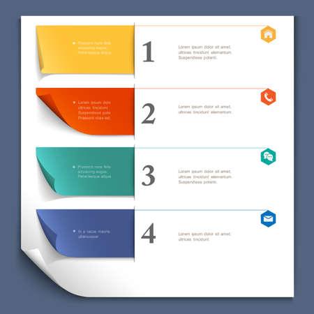 numbered: Modello di progettazione di carta per il layout sito web, la carta numerata banner vettoriale Vettoriali