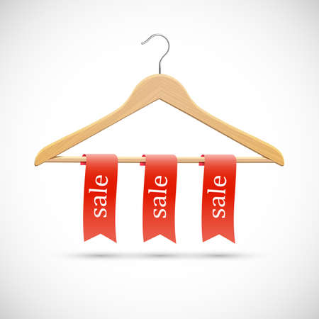 Sale concept - wooden hangers  with red ribbons  Vector Vector