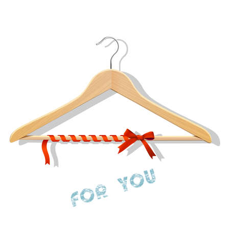 Sale concept - wooden hangers tied red ribbon  Vector  Vector