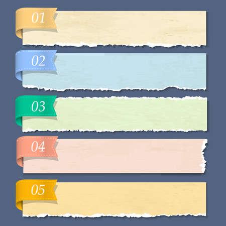 gescheurd papier: Gescheurd papier genummerd banners Vector Stock Illustratie