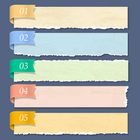 torned: Torn paper numbered banners  Vector