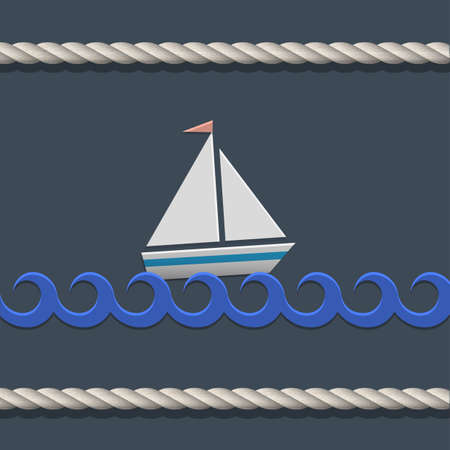 cartoon summer: Vector background with sailboat and nautical rope