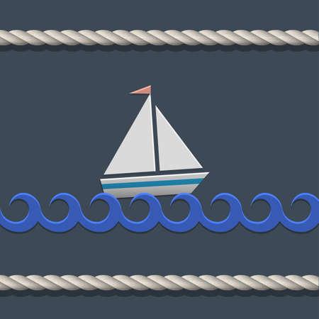 deportes nauticos: Vector de fondo con velero y cuerda n�utica Vectores