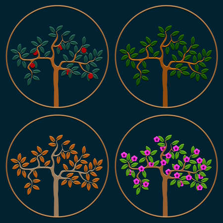 Vector set of icons seasonal trees Vector