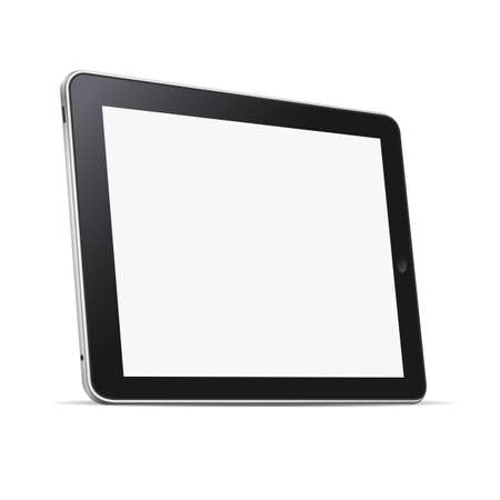 Black abstract tablet computer (pc) isolated on white. Vector illustration