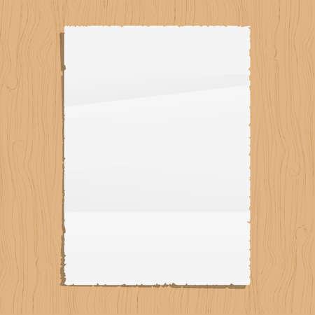 a4 borders: Hoja de papel vac�a en el fondo de madera. Vector EPS10