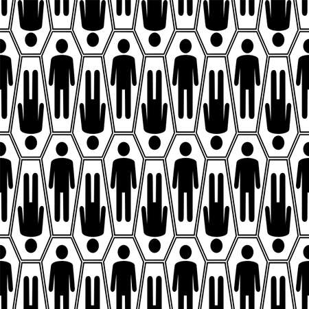coffins: Black and white Halloween seamless pattern with coffins