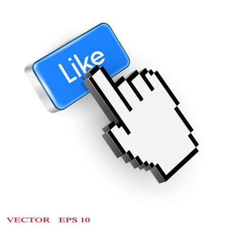 Blue button with Like text and hand cursor Vector