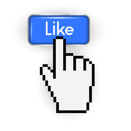Like button and hand cursor Vector