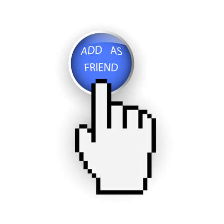 Round blue button with Add as friend and hand cursor Vector